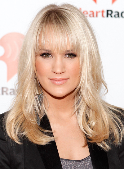 Carrie Underwood Medium Wavy Bangs Romantic