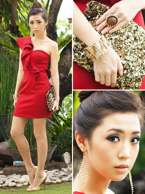 red dress, gol, glitter clutch valentine's day outfit