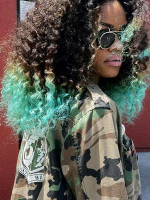 green dip-dye hair