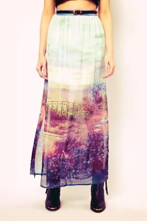scene print maxi skirt