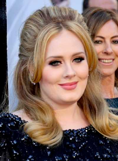 Adele's Blonde, Wavy, Formal Hairstyle with Bangs