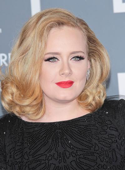 Adele's Short, Curly, Blonde Bob