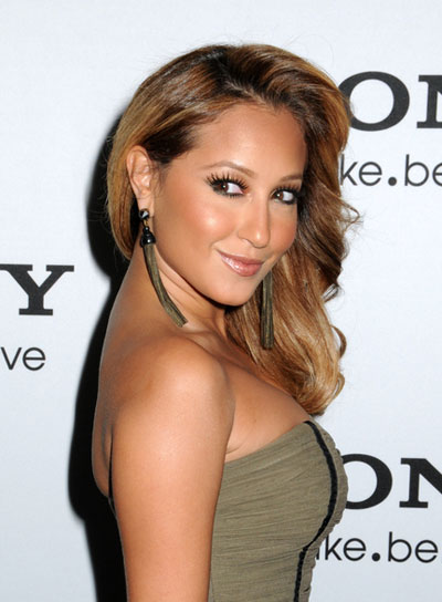 Adrienne Bailon Medium, Curly, Blonde Hairstyle