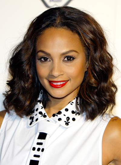 Alesha Dixon's Medium, Brunette, Wavy, Romantic Hairstyle