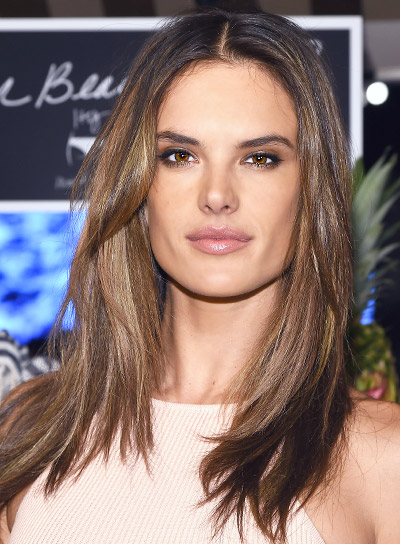 Alessandra Ambrosio with a Medium, Straight, Brunette, Chic Hairstyle Pictures
