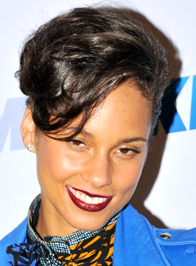 Alicia Keys' Funky, Black, Party, Updo Hairstyle