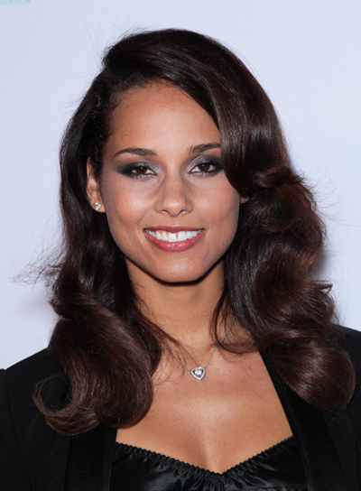 Alicia Keys Long, Wavy, Romantic, Formal, Sophisticated, Black Hairstyle