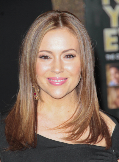 Alyssa Milano Long, Layered, Straight, Chic, Brunette Hairstyle