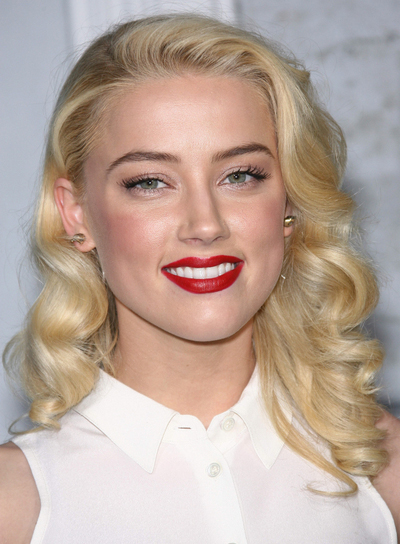 Amber Heard Curly, Romantic, Chic, Blonde Hairstyle