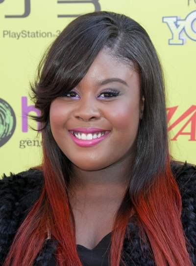 Amber Riley Long, Straight, Funky, Edgy, Black Hairstyle with Bangs