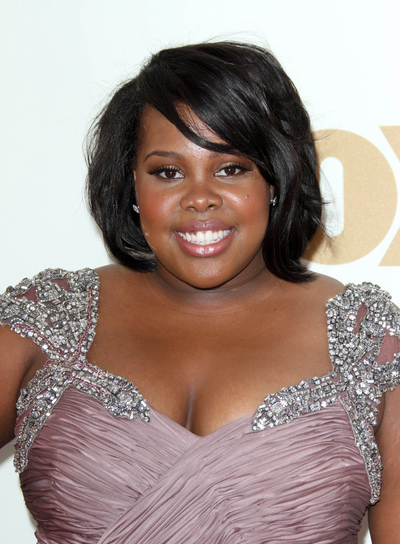 Amber Riley Short, Chic, Black Bob with Bangs