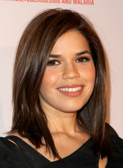 America Ferrera Medium, Straight, Sophisticated, Brunette Hairstyle