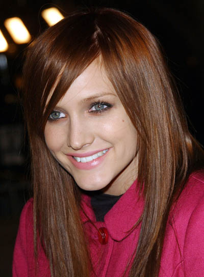 Ashlee Simpson Red, Long, Straight Hairstyle