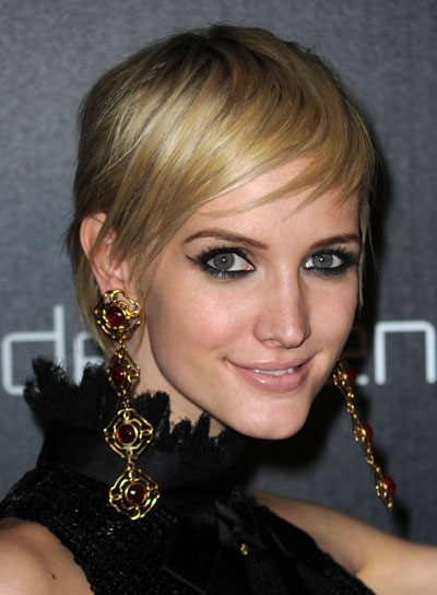 Ashlee Simpson Short, Straight, Chic, Blonde Hairstyle
