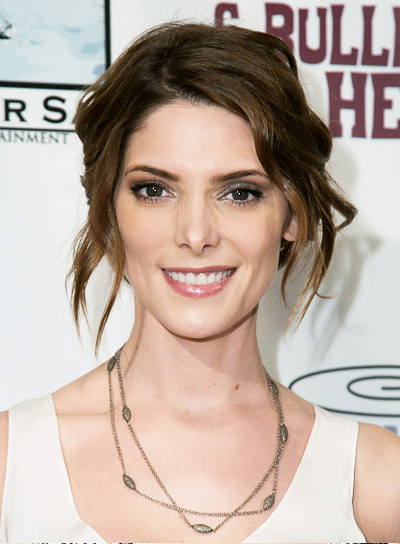 Ashley Greene with a Tousled, Brown, Sexy, Updo Hairstyle Pictures