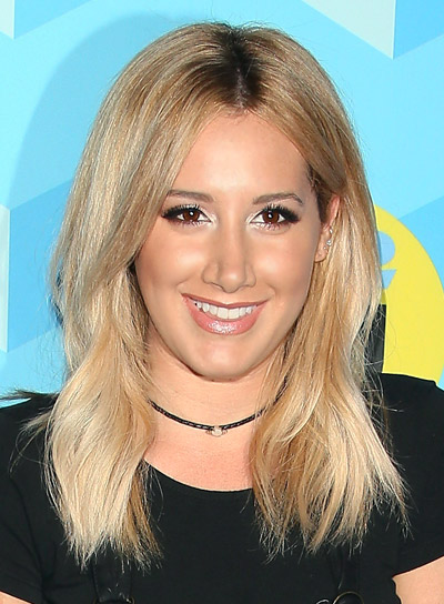 Ashley Tisdale's Medium, Blonde, Wavy, Tousled Hairstyle