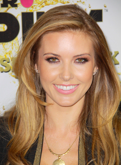 Audrina Patridge's Long, Wavy, Brunette Hairstyle with Highlights