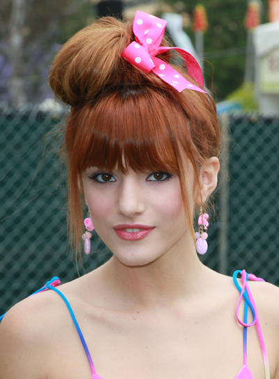 Bella Thorne Funky, Party, Red Updo with Bangs
