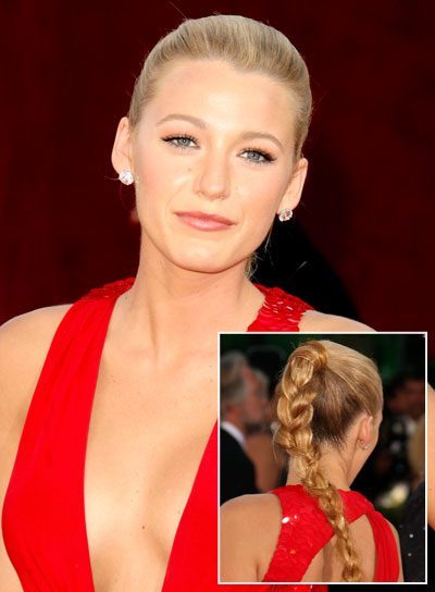 Blake Lively Long, Blonde Ponytail with Braids and Twists