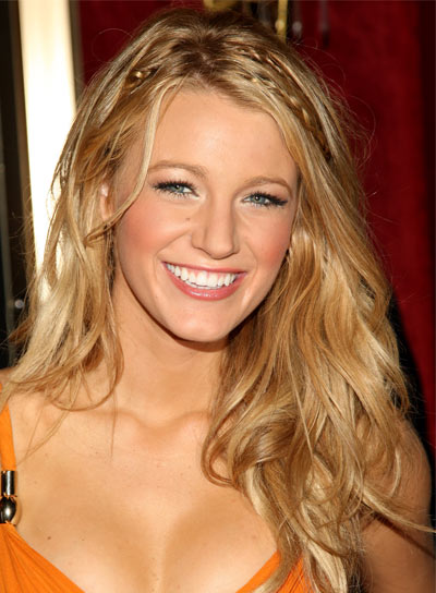 Blake Lively Long, Tousled, Blonde Hairstyle with Braids and Twists