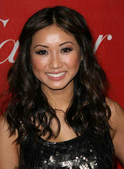 Brenda Song Long, Sexy, Wavy, Black Hairstyle with Highlights