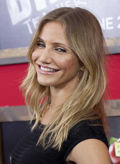 Cameron Diaz Medium, Tousled, Sexy, Blonde Hairstyle