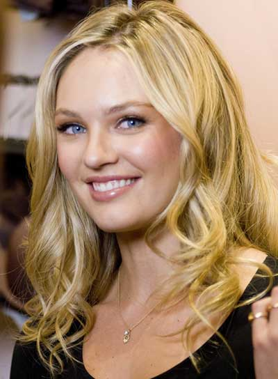 Candice Swanepoel Long, Curly, Blonde, Romantic Hairstyle