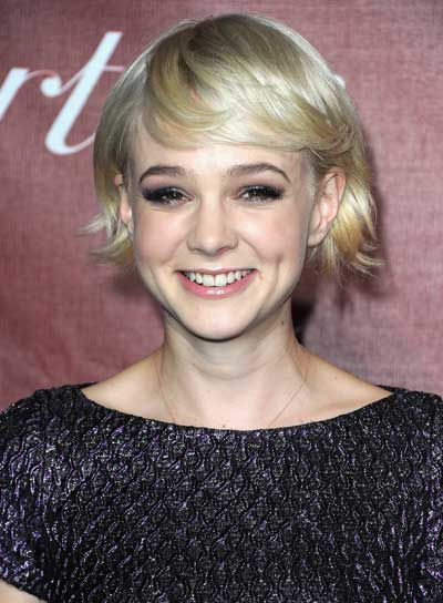 Carey Mulligan Short, Blonde, Edgy, Tousled Bob with Bangs