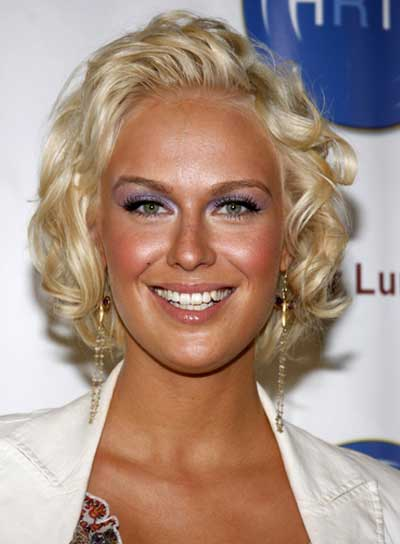 Caridee English Short, Curly, Romantic, Blonde Hairstyle