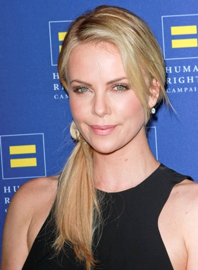 Charlize Theron's Long, Sexy, Chic, Updo, Ponytail Hairstyle