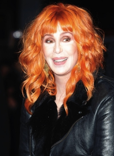 Cher Funky, Curly, Red Hairstyle with Bangs