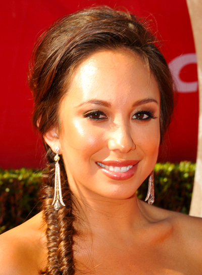 Cheryl Burke's Romantic, Brunette, Ponytail Hairstyle with Braids and Twists