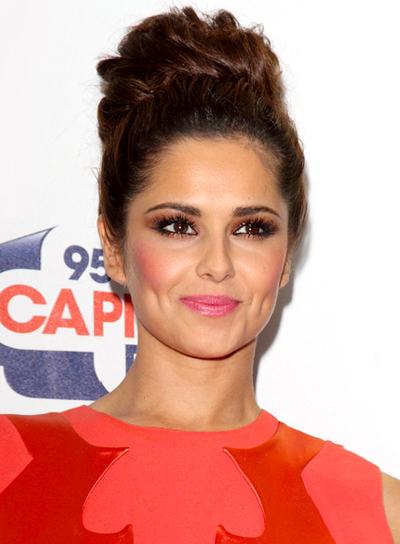 Cheryl Cole's Chic, Romantic, Brunette, Updo Hairstyle