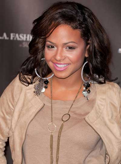 Christina Milian Curly, Tousled, Brunette Hairstyle