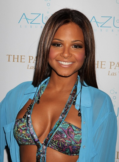 Christina Milian Long, Straight, Chic, Sophisticated, Brunette Hairstyle with Highlights