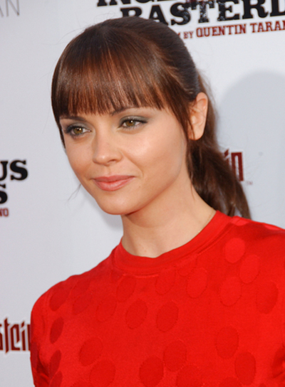 Christina Ricci Straight, Sophisticated, Brunette Ponytail with Bangs