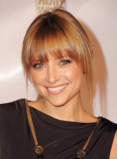 Christine Lakin Straight, Romantic, Chic, Brunette Updo with Bangs