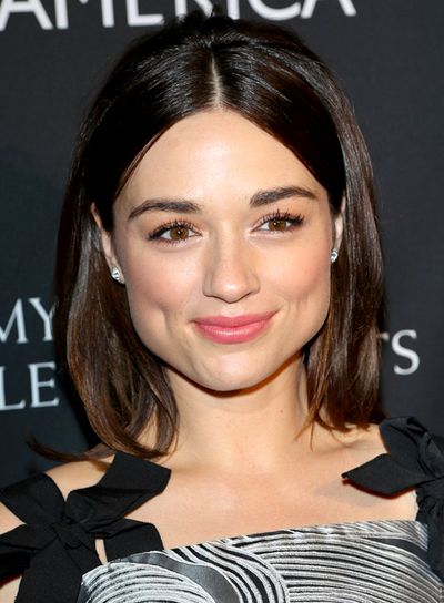 Crystal Reed's Medium, Straight, Brunette, Sophisticated Hairstyle