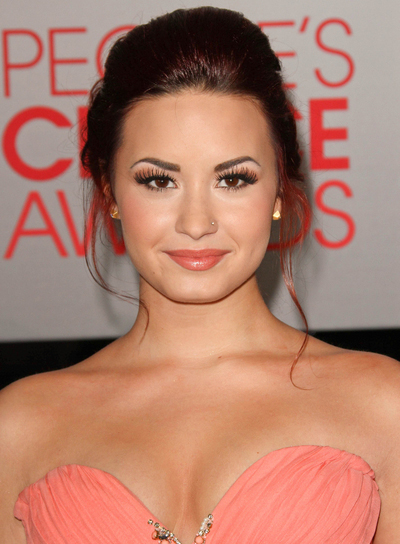 Demi Lovato Tousled, Romantic, Formal, Party, Red Updo