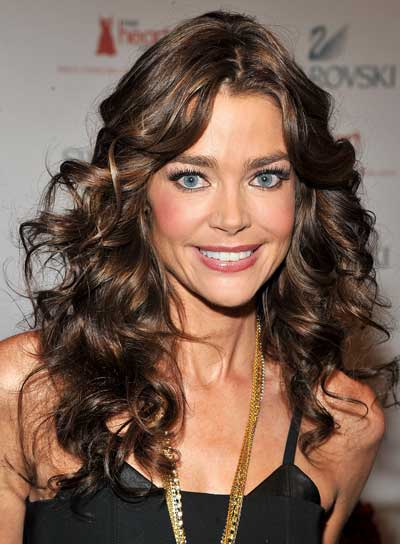Denise Richards Long, Curly, Layered, Brunette Hairstyle