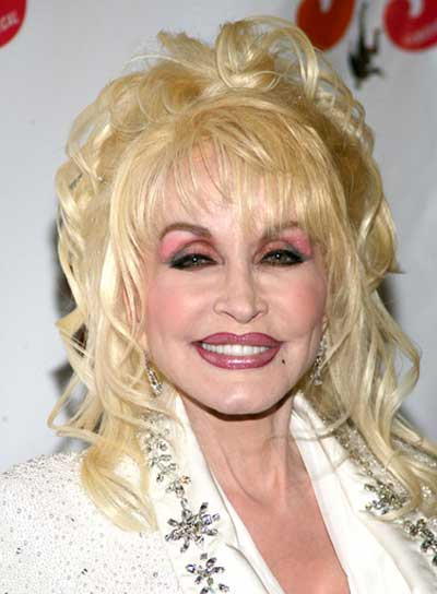 Dolly Parton Long, Curly, Blonde Half Updo with Bangs