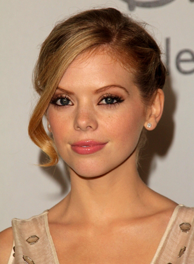 Dreama Walker's Romantic, Blonde, Updo Hairstyle with Braids and Twists