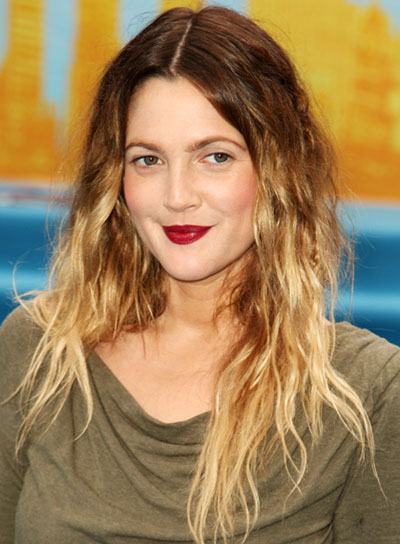 Drew Barrymore Tousled Hairstyle with Highlights