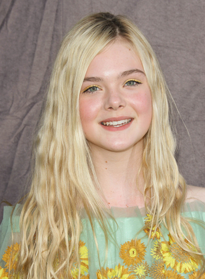 Elle Fanning Long, Layered, Wavy, Blonde Hairstyle