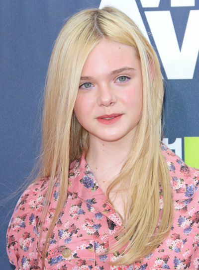Elle Fanning Long, Straight, Blonde, Hairstyle