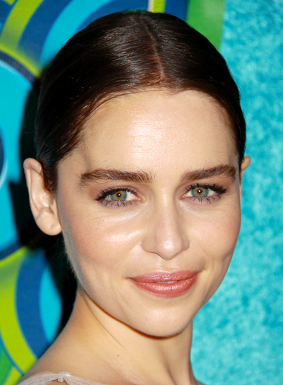Emilia Clarke's Edgy, Chic, Brunette, Updo Hairstyle