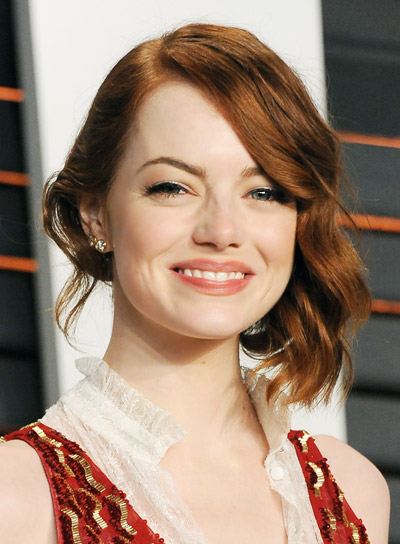 Emma Stone with a Curly, Red, Romantic, Updo Hairstyle