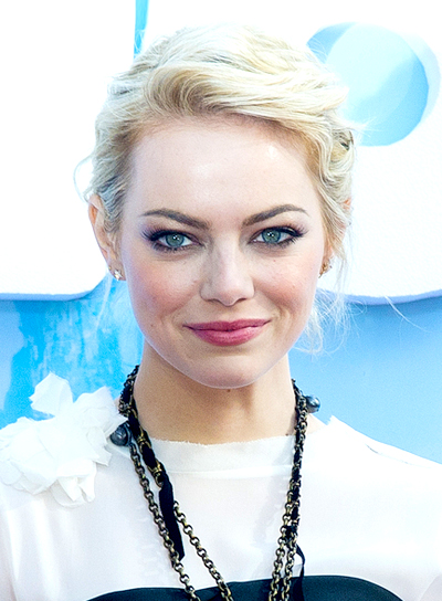 Emma Stone's Blonde, Chic, Party, Updo Hairstyle