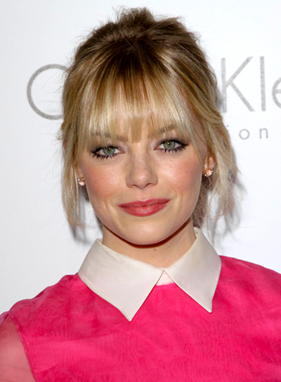 Emma Stone's Blonde, Romantic, Updo Hairstyle with Bangs