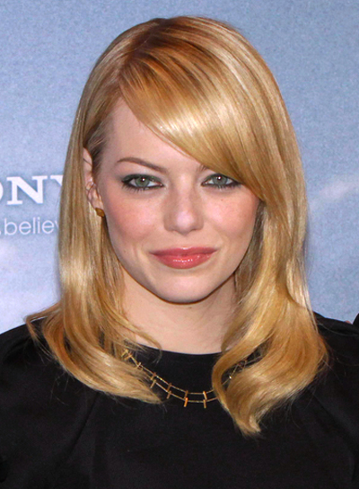 Emma Stone's Medium, Blonde, Sophisticated Hairstyle with Bangs
